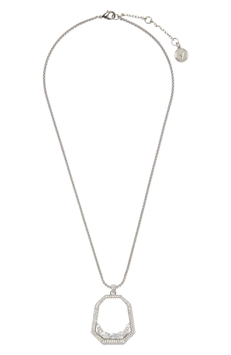 VINCE CAMUTO Floating Crystal Open Pavé Pendant Necklace, Main, color, SILVER