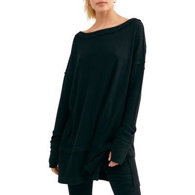Free People North Shore Thermal Knit Tunic Top, Black