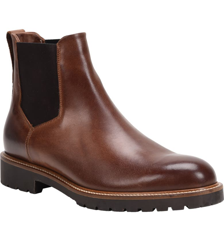 ROSS & SNOW Fabio Genuine Shearling Lined Chelsea Boot, Main, color, BROWN