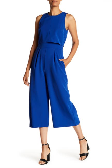 Image of Vince Camuto Crepe Popover Crop Jumpsuit