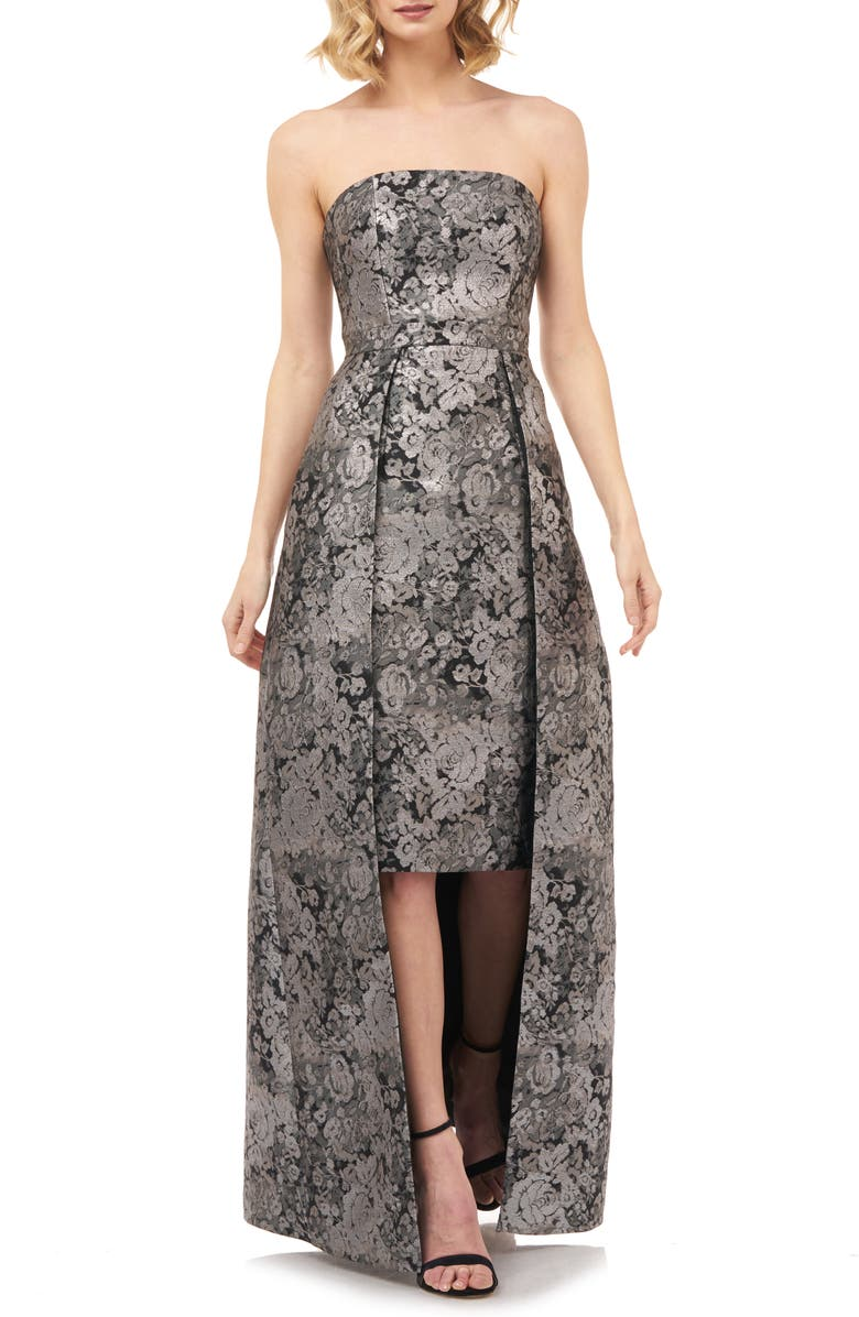 KAY UNGER Paloma Strapless Jacquard Gown, Main, color, SILVER MULTI