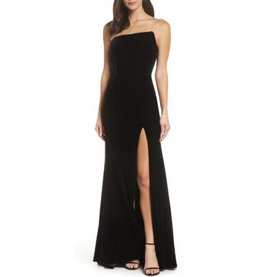 Xscape Strapless Velvet Gown, Black