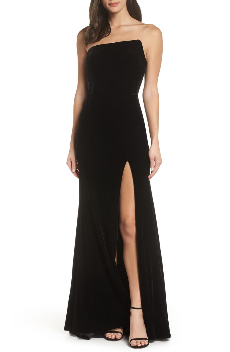 XSCAPE Strapless Velvet Gown, Main, color, BLACK