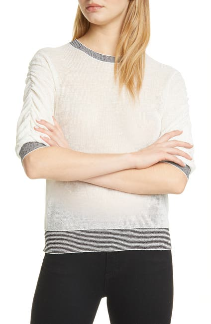 Image of VERONICA BEARD Celia Ruched Sleeve Linen Blend Sweater