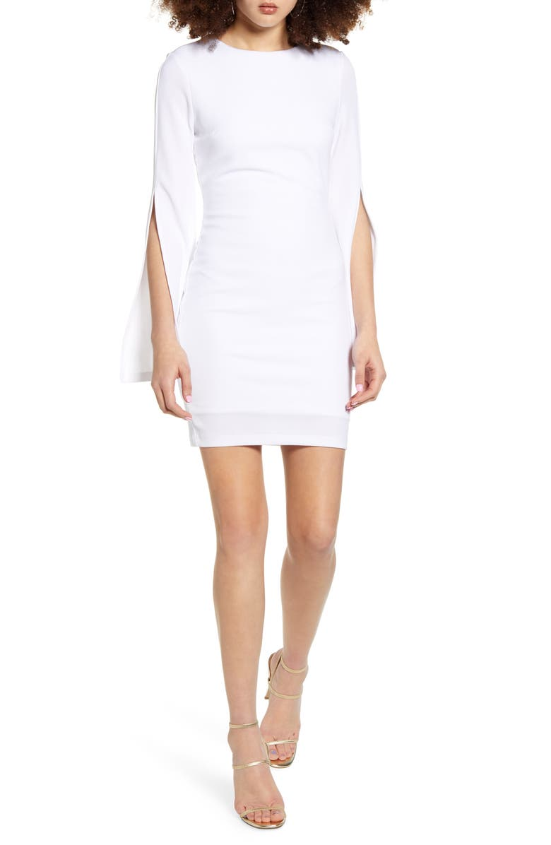 SNDYS Pascal Slit Long Sleeve Cocktail Sheath Dress, Main, color, 100