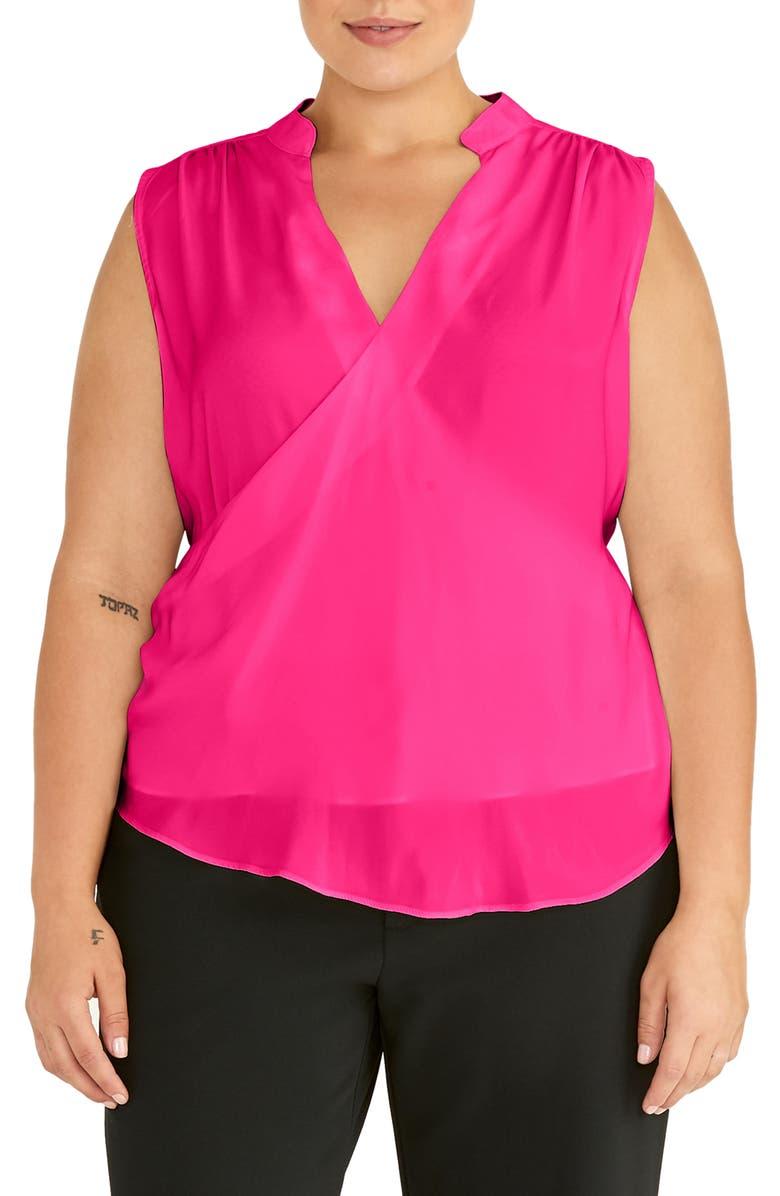 RACHEL ROY COLLECTION Faux Wrap Top, Main, color, PASSION PINK