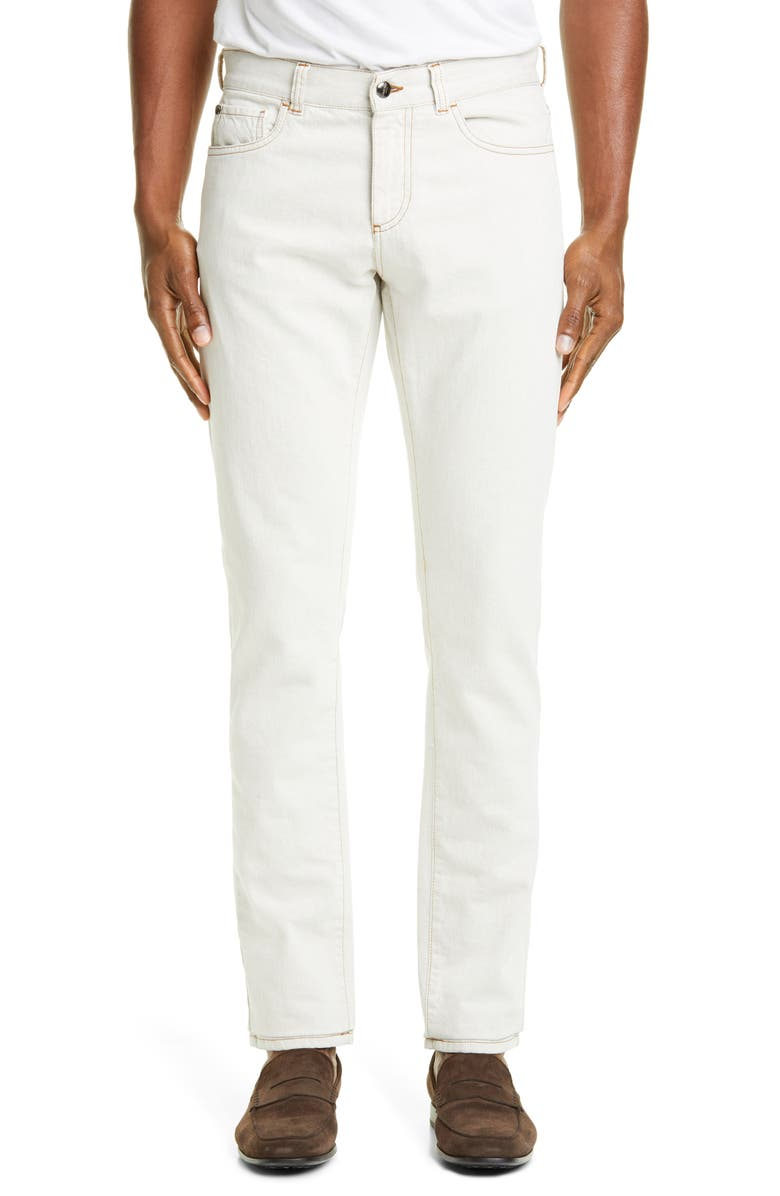 CANALI Five-Pocket Cotton Twill Dress Pants, Main, color, NATURAL