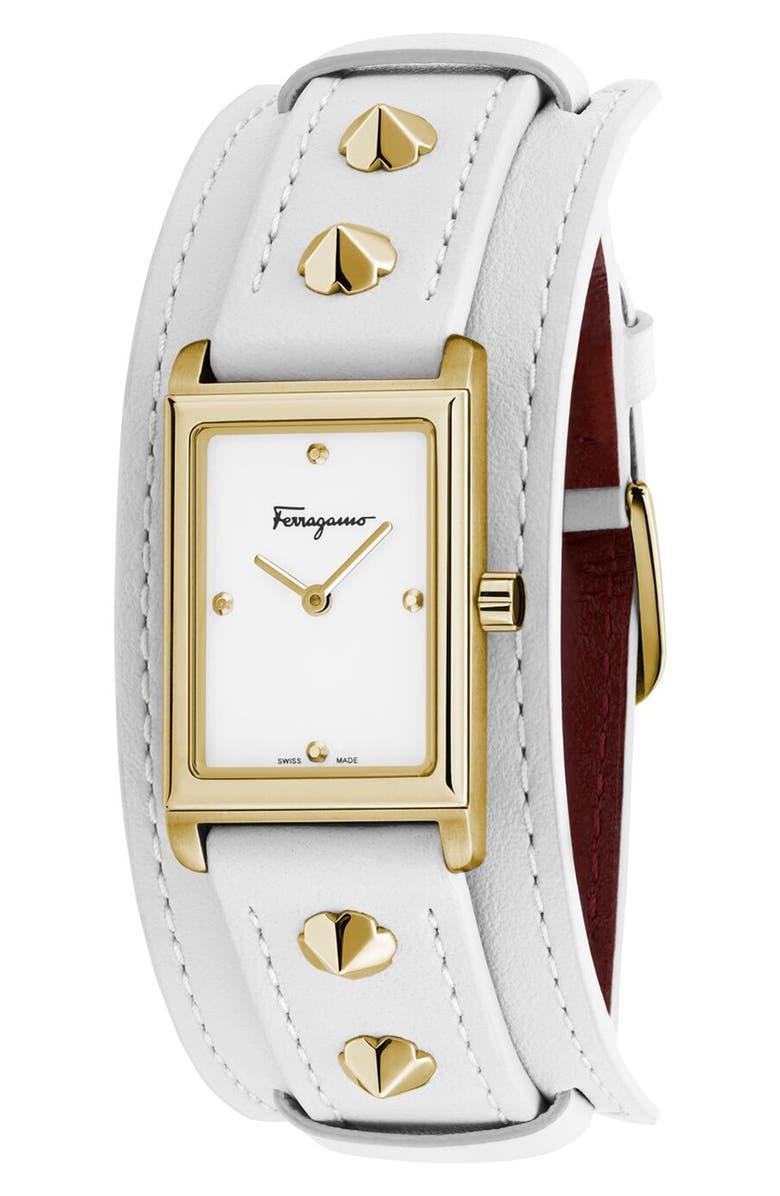 SALVATORE FERRAGAMO Fiore Studs Leather Strap Watch, 34mm, Main, color, WHITE/ GOLD
