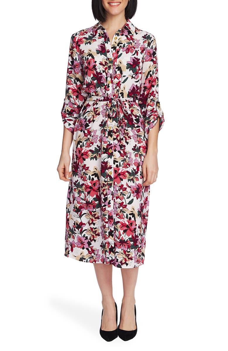 CHAUS Aurora Petal Tie Waist Midi Dress, Main, color, 900