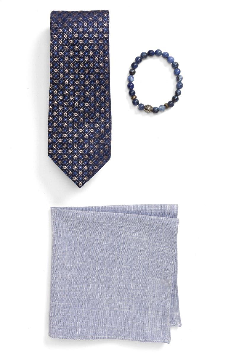 BESPOKE Silk Tie, Pocket Square & Stretch Bracelet Gift Set, Main, color, NAVY