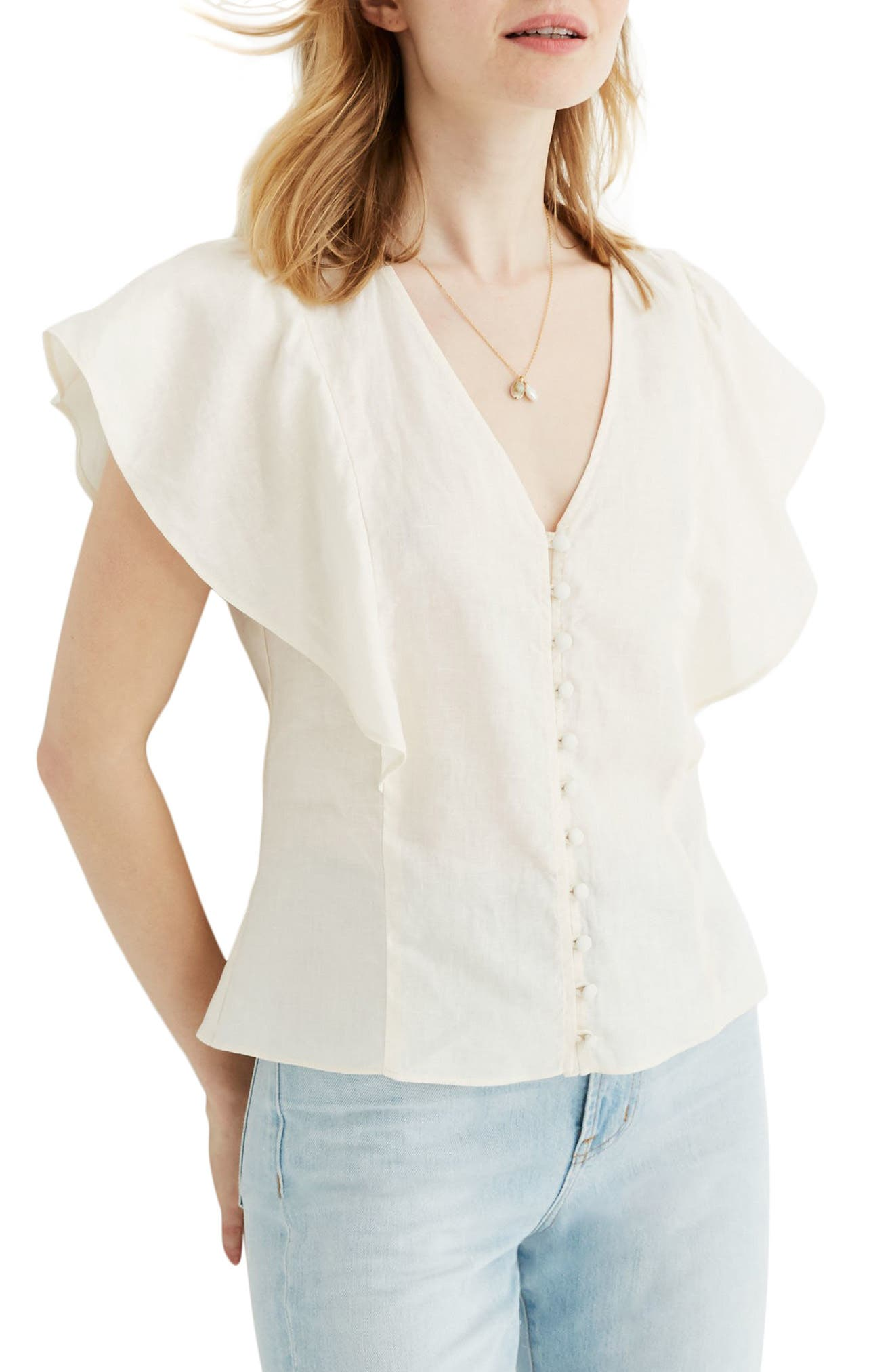 1930s Style Blouses, Shirts, Tops | Vintage Blouses Womens Madewell Carmelina Flutter Sleeve Linen Top $78.00 AT vintagedancer.com