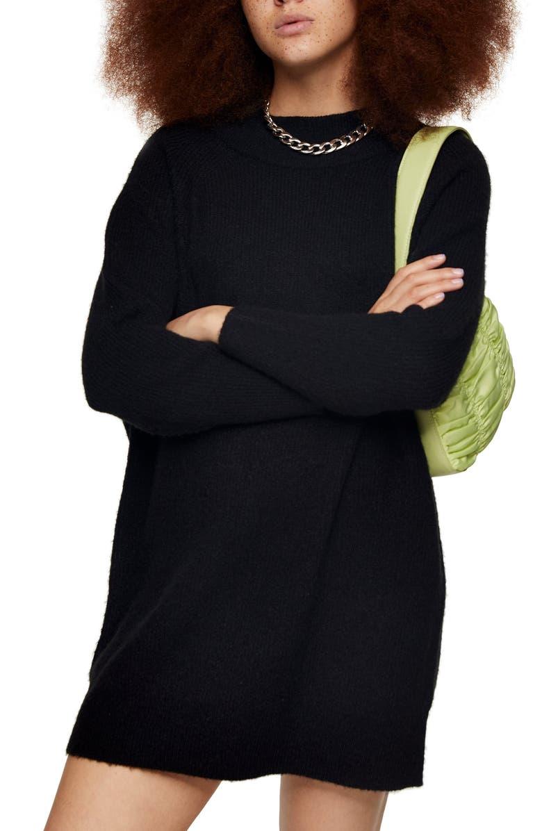 TOPSHOP Oversize Long Sleeve Mini Sweater Dress, Main, color, BLACK