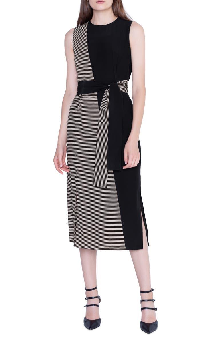 AKRIS Bias Cut Contrast Belted Silk Midi Dress, Main, color, BLACK JASMINE