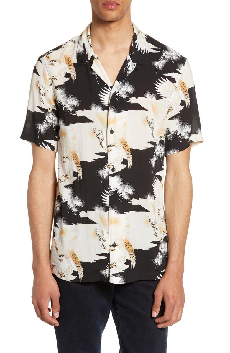 ALLSAINTS Layback Slim Fit Print Camp Shirt, Main, color, JET BLACK