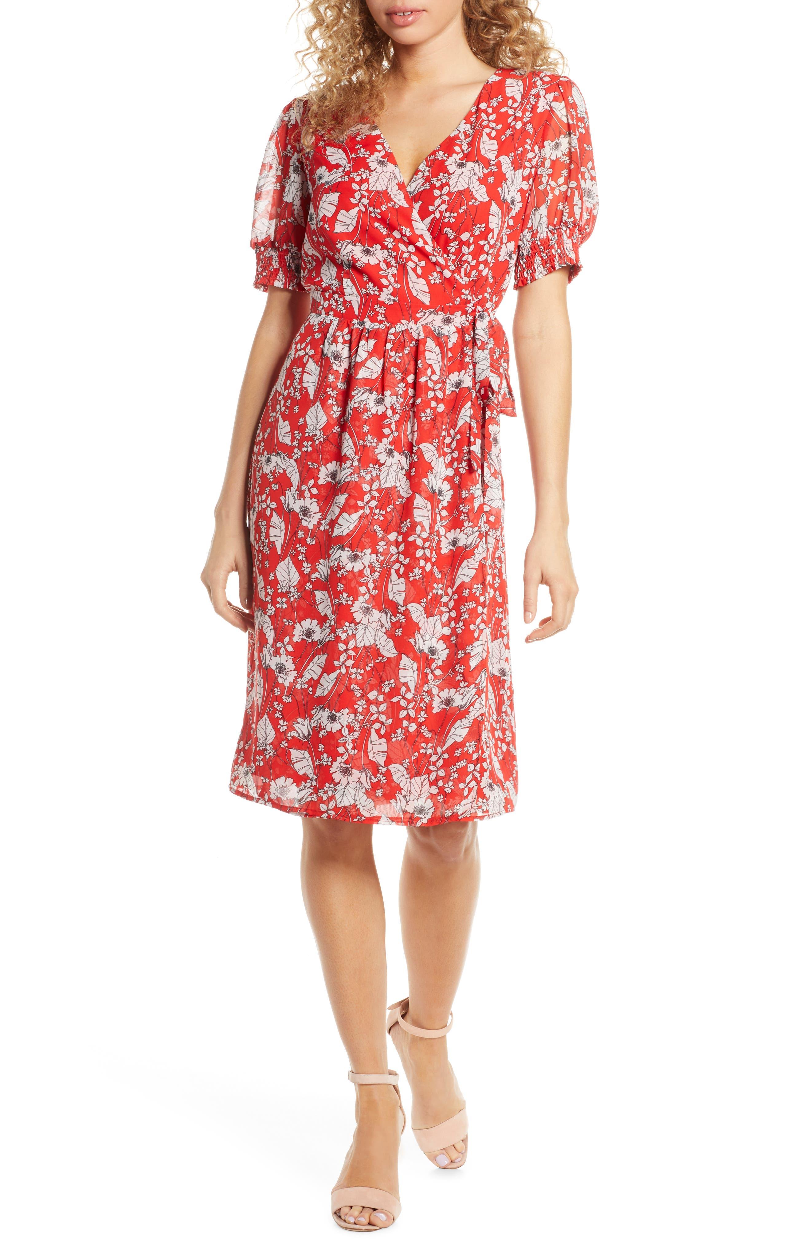 Chelsea28 Floral Print Faux Wrap Dress, Red