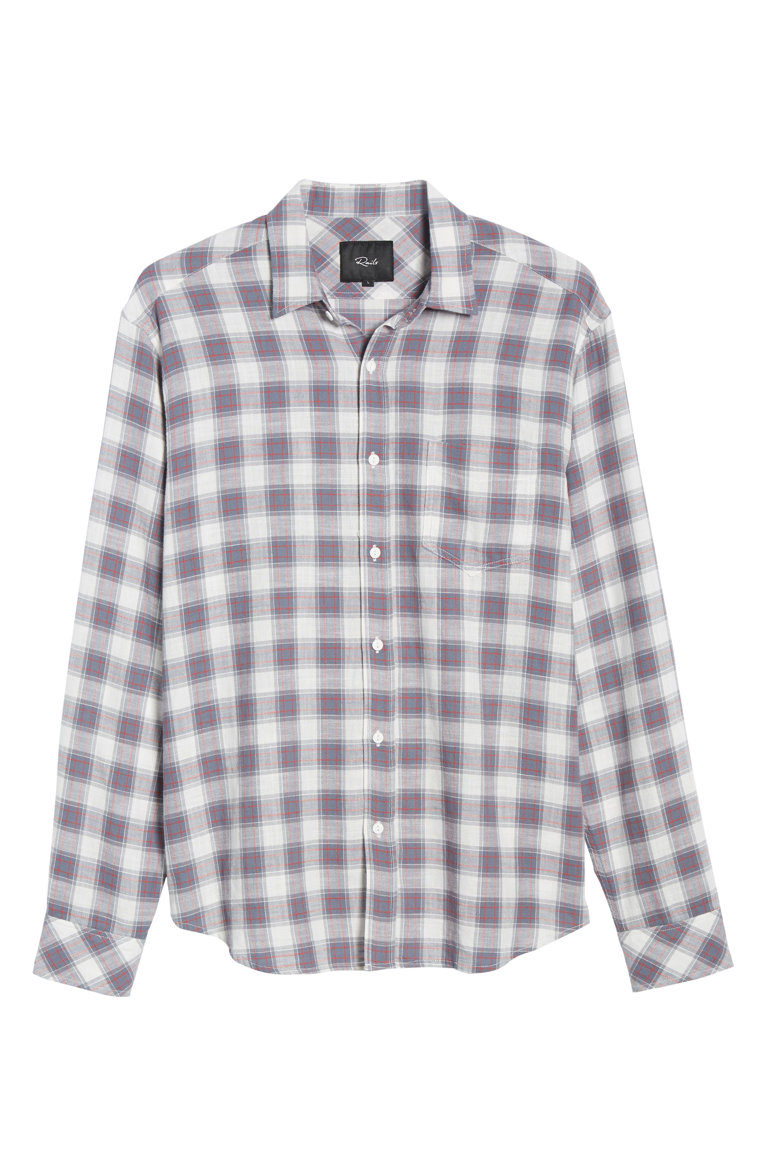 ,                             Wyatt Regular Fit Plaid Sport Shirt,                             Alternate thumbnail 5, color,                             OCEAN TANGERINE