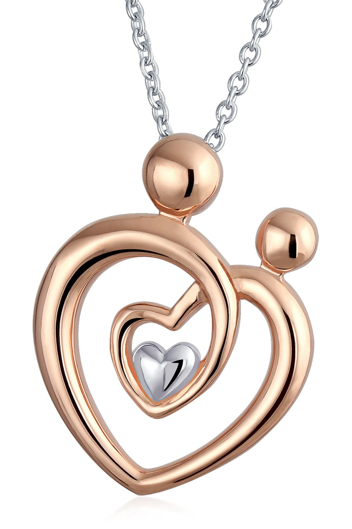 Mom With Heart Pendant Necklace in 14K Yellow and Rose Satin Gold