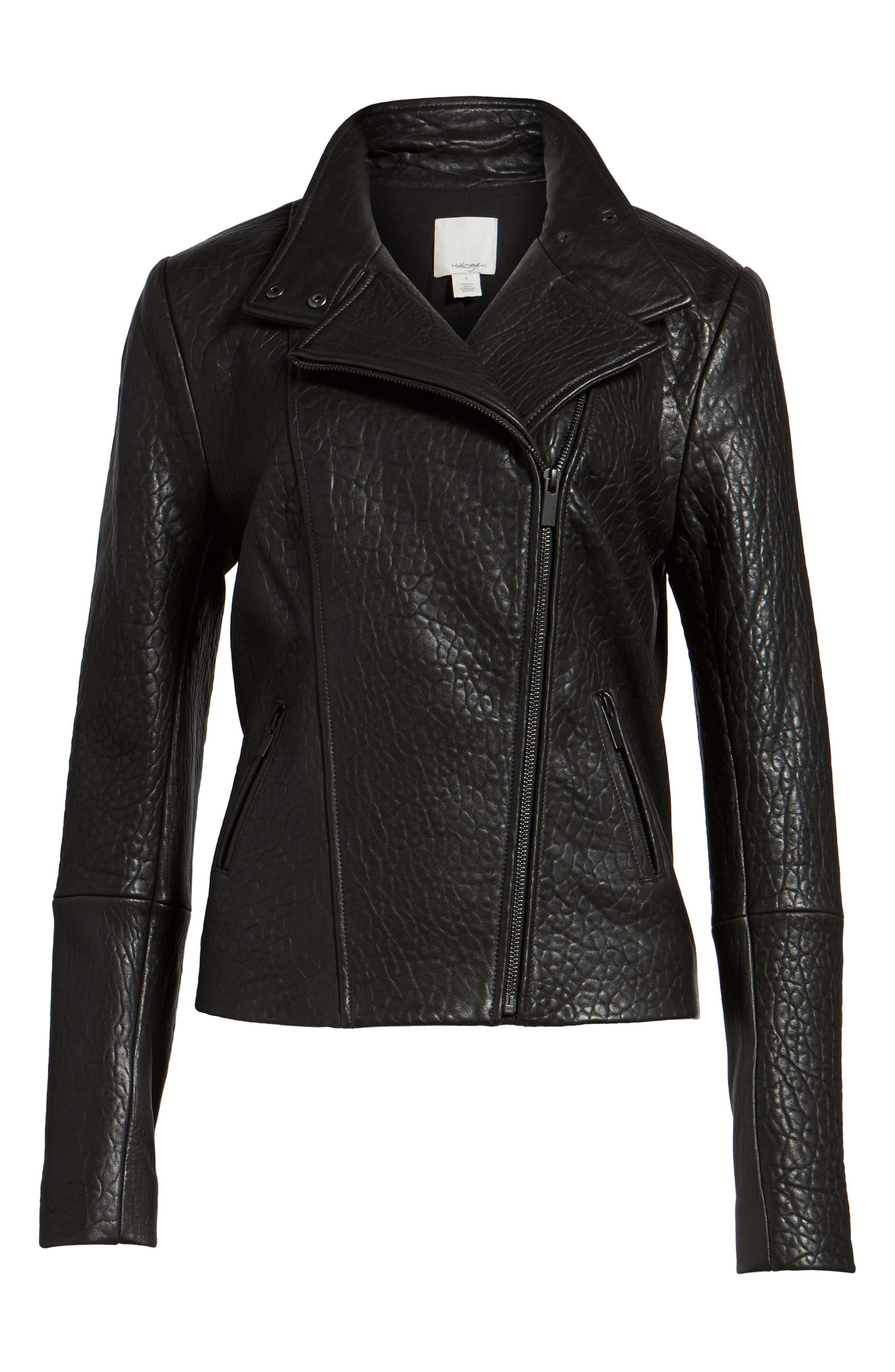 ,                             Leather Jacket,                             Alternate thumbnail 6, color,                             001