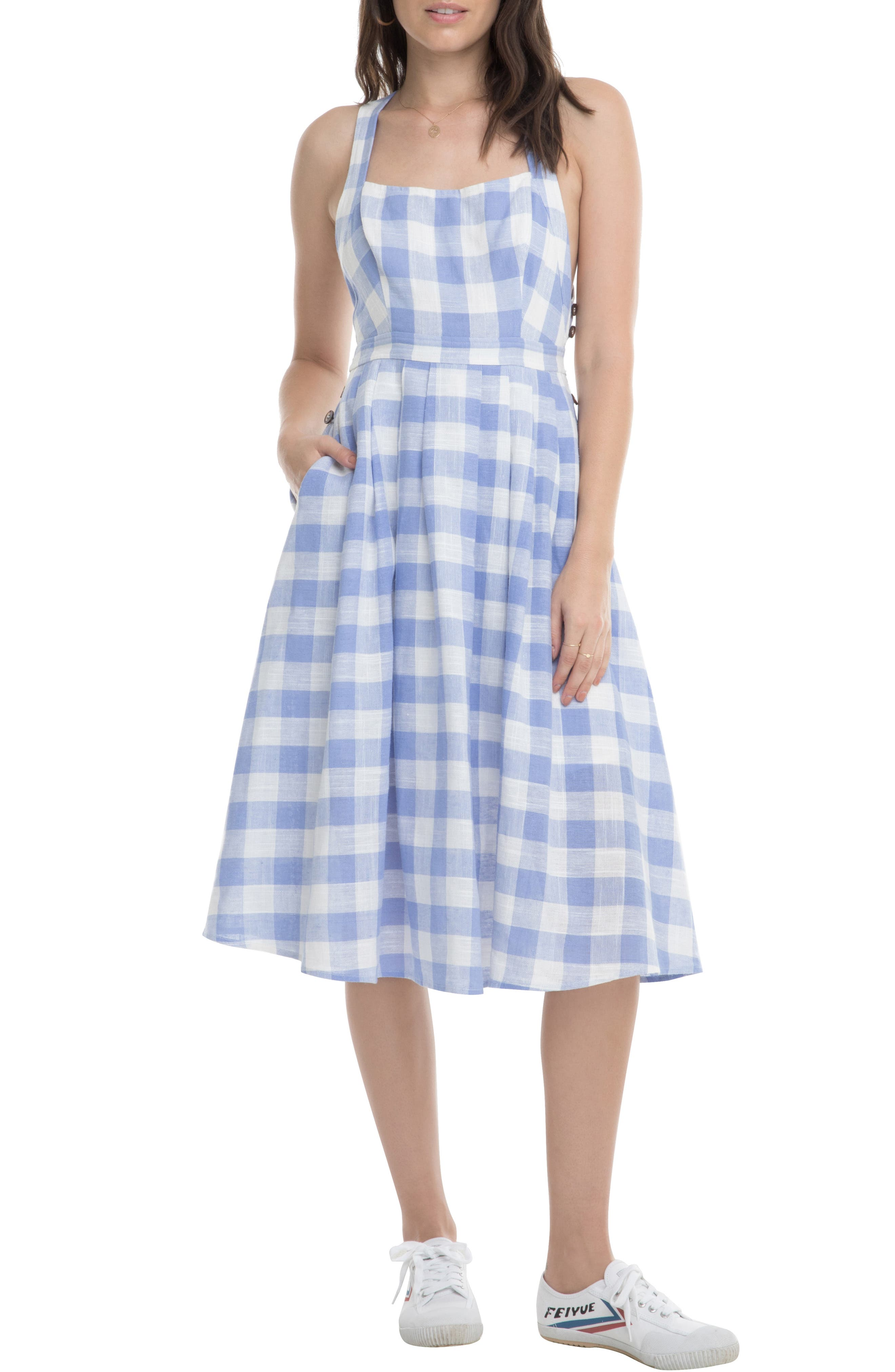Astr The Label Lillian A-Line Dress, Blue