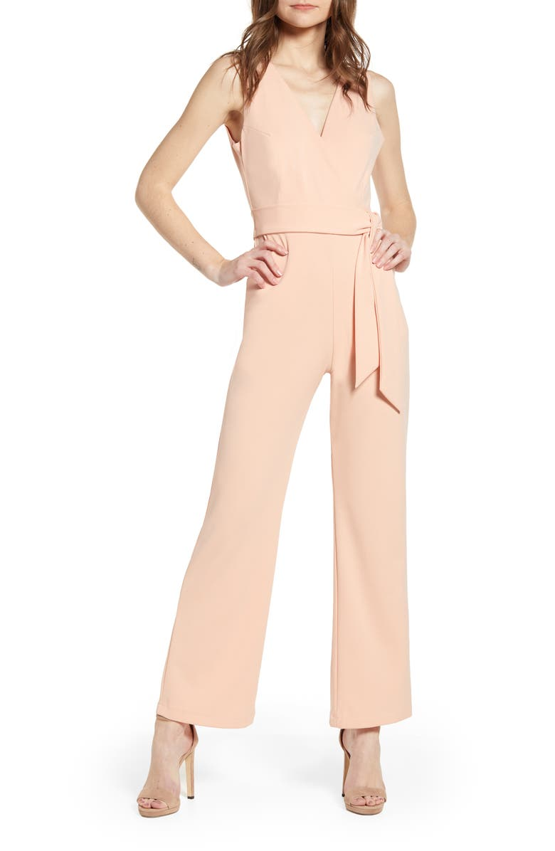 SENTIMENTAL NY Plunge Back Jumpsuit, Main, color, ROSE