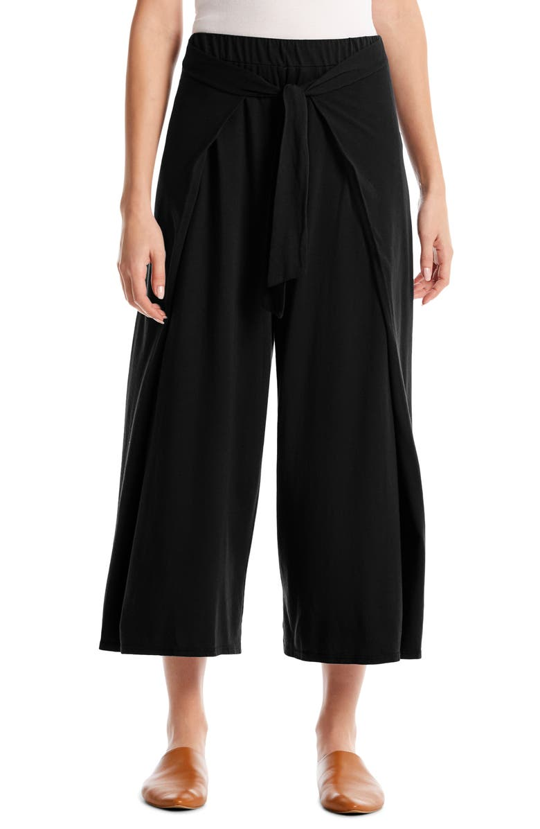 MICHAEL STARS Clarissa Tie Front Wide Leg Crop Culottes, Main, color, 001