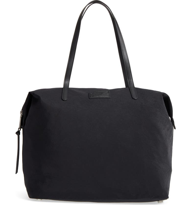 REBECCA MINKOFF Washed Nylon Tote, Main, color, BLACK