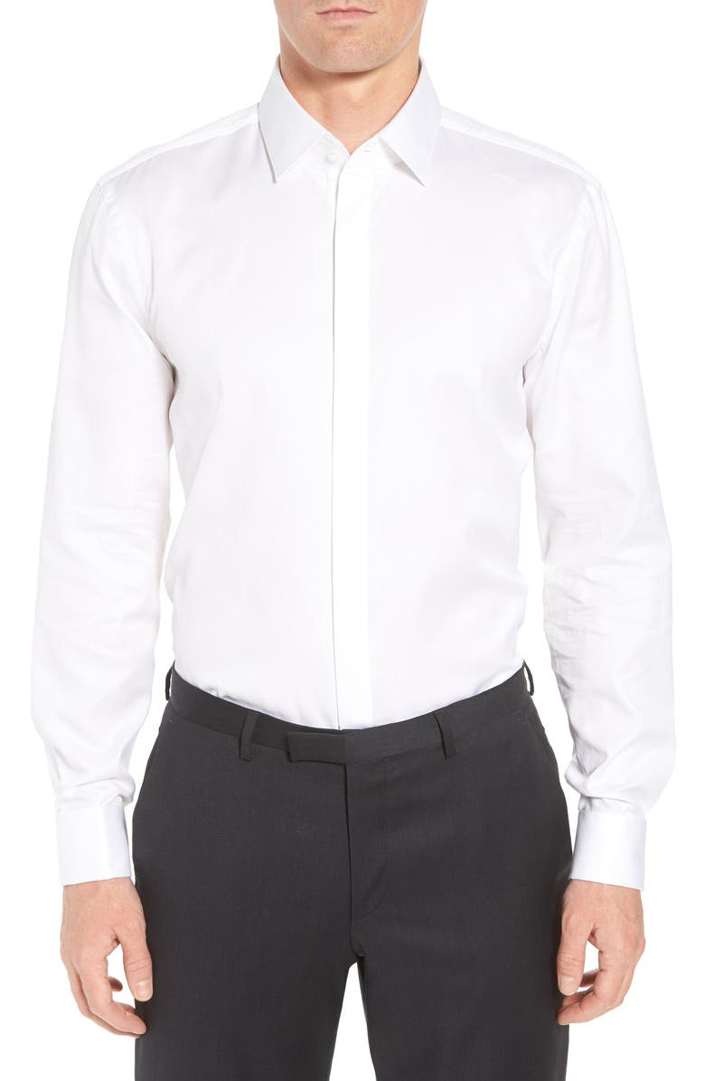BOSS Myron Sharp Fit Tuxedo Shirt, Main, color, WHITE