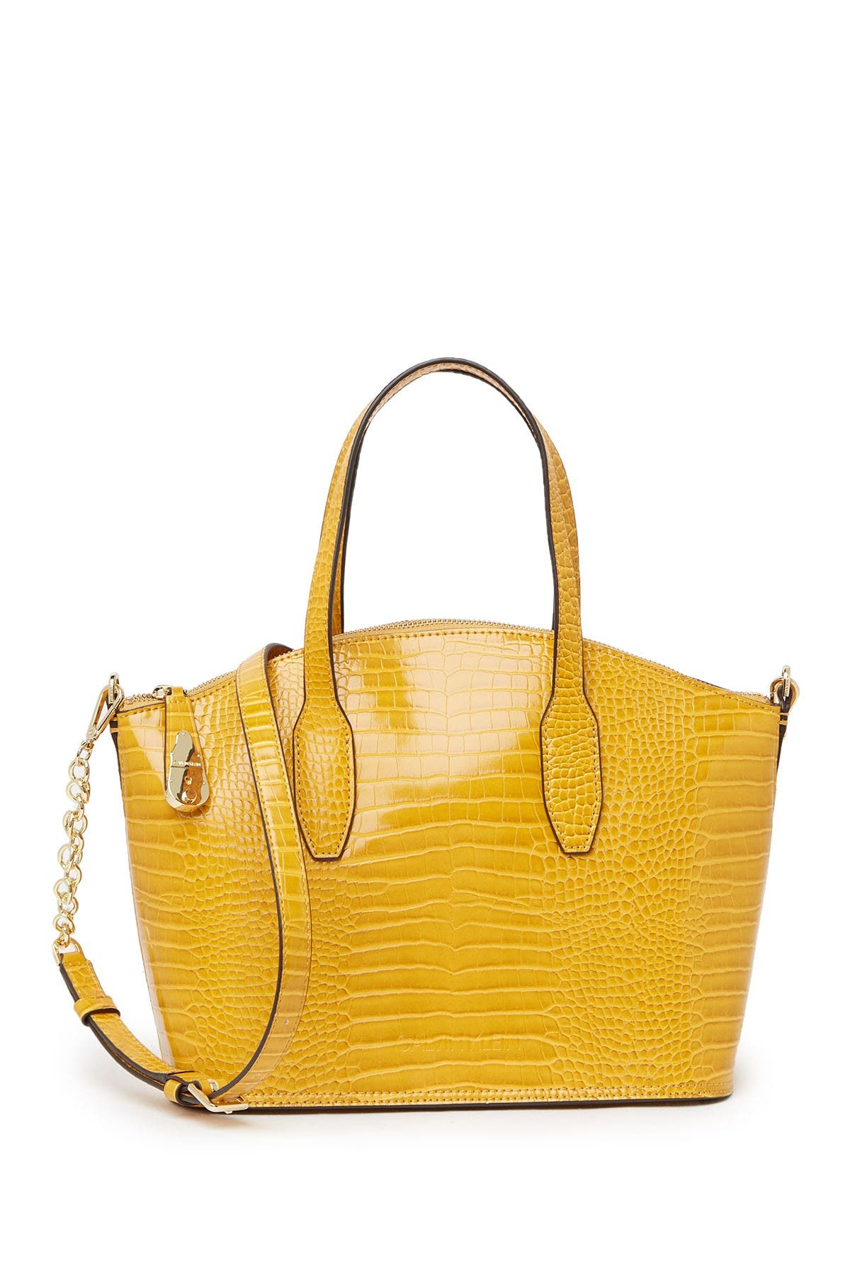 Image of Calvin Klein Croc Embossed Statement Series Lock Daytona Satchel