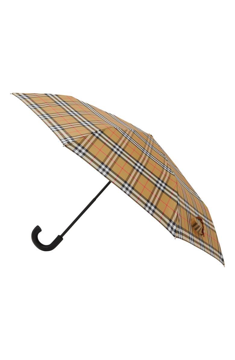BURBERRY Trafalgar Check Folding Umbrella, Main, color, ARCHIVE BEIGE