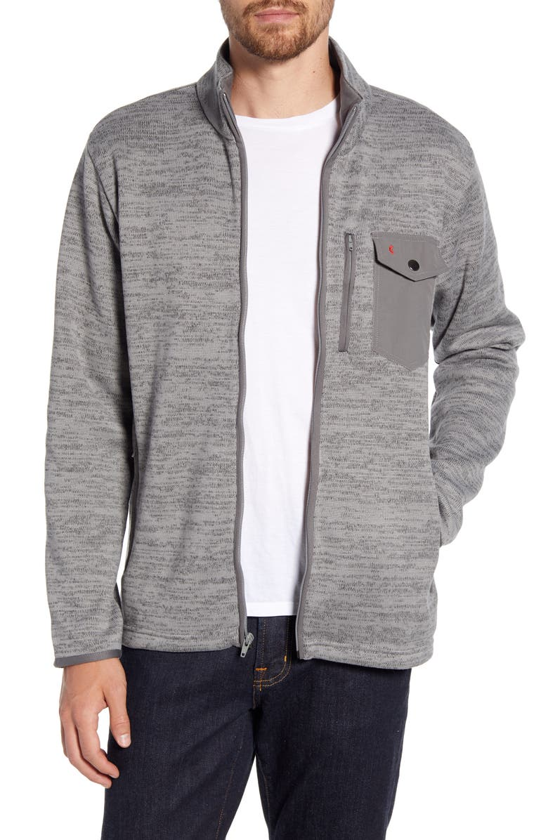 CRIQUET Fleece Zip Jacket, Main, color, GREY HEATHER