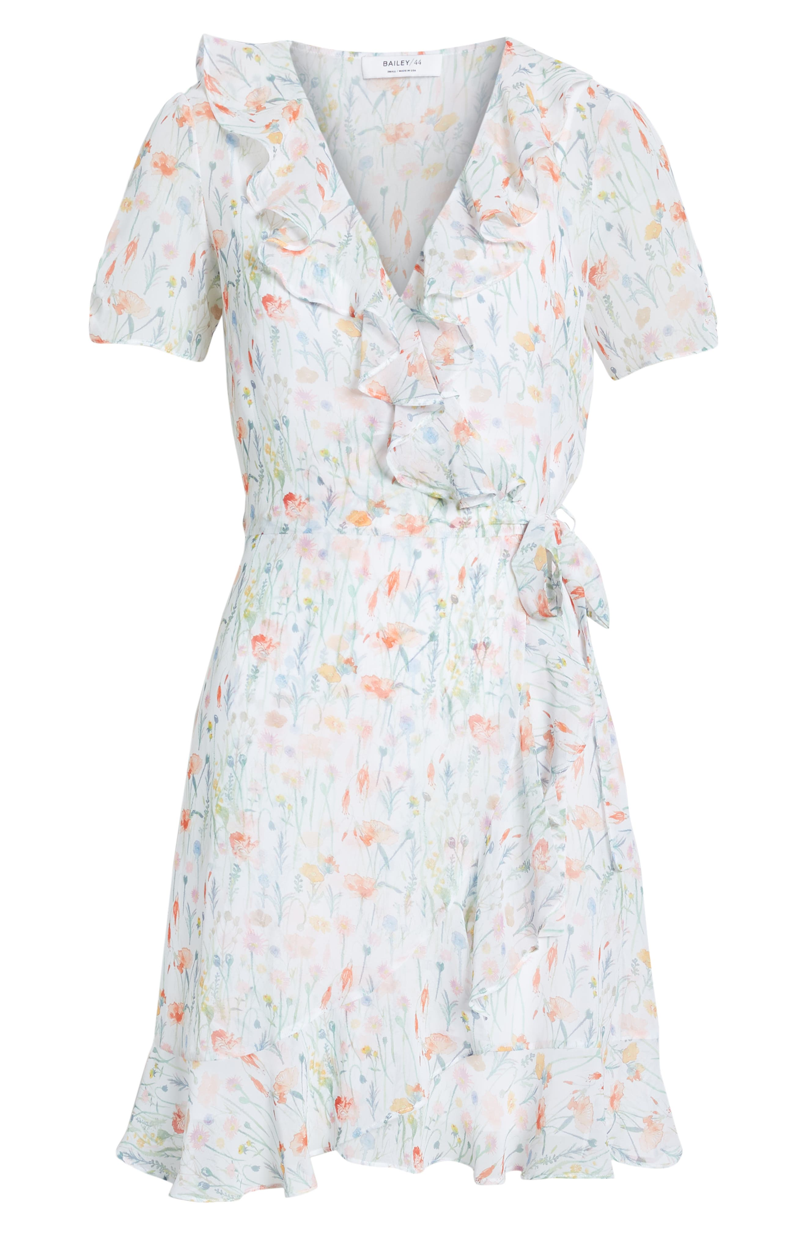 ,                             In the Clouds Floral Ruffle Wrap Dress,                             Alternate thumbnail 6, color,                             WHITE MULTI