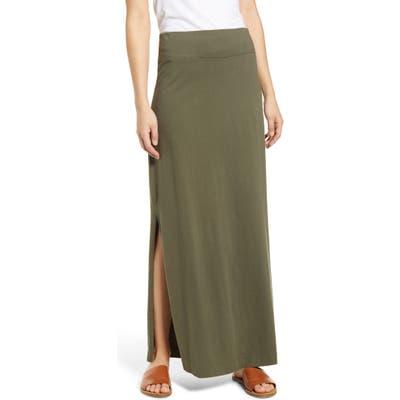 Petite Caslon Knit Maxi Skirt, Green