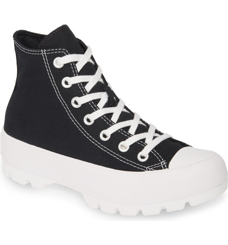 CONVERSE Chuck Taylor<sup>®</sup> All Star<sup>®</sup> Lugged High Top Sneaker, Main, color, BLACK/ WHITE/ BLACK