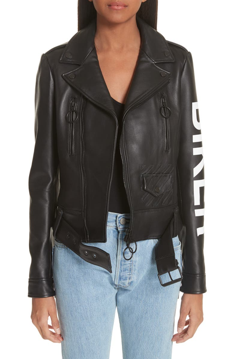 how to get enjoy cheap price top brands Off-White Leather Biker Jacket | Nordstrom