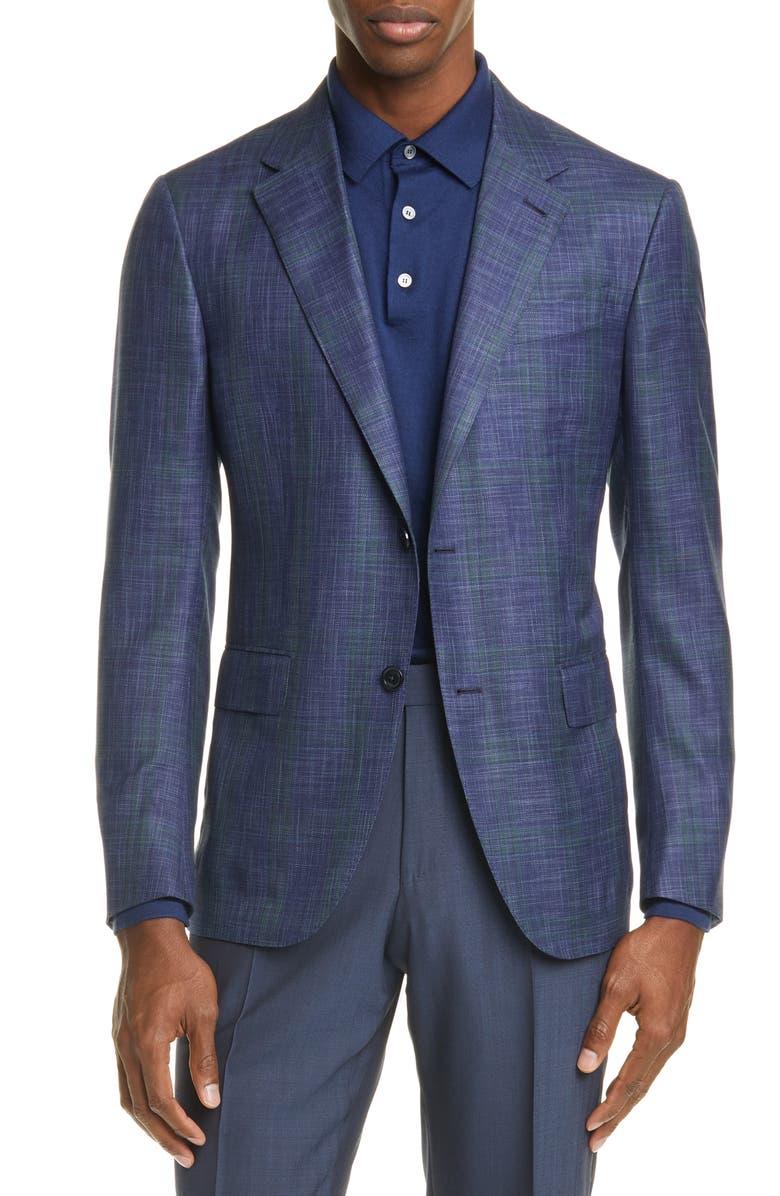 ERMENEGILDO ZEGNA Milano Easy Classic Fit Mélange Wool & Silk Sport Coat, Main, color, BLUE