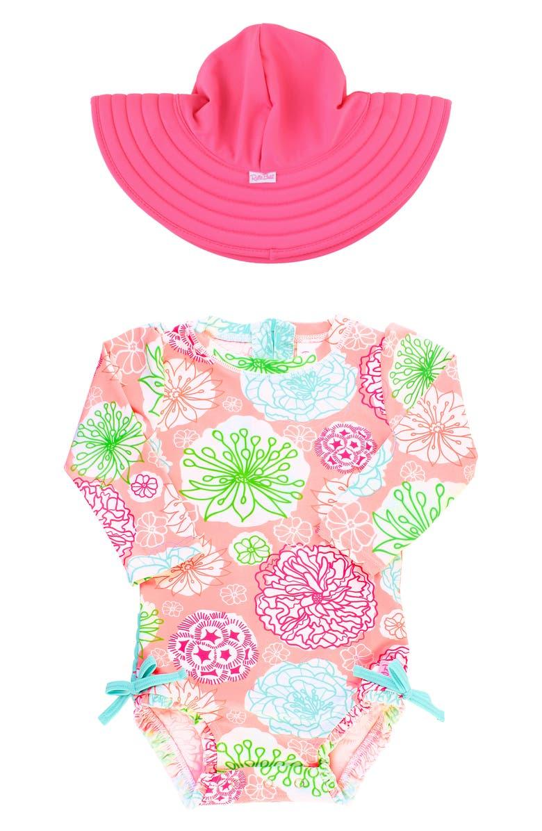 RUFFLEBUTTS Tropical Garden One-Piece Rashguard Swimsuit & Reversible Sun Hat Set, Main, color, PINK