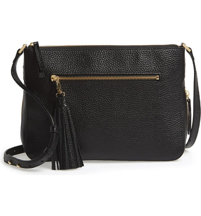5c7aa5abad Halogen Tassel Leather Crossbody Bag, Main, color, 001