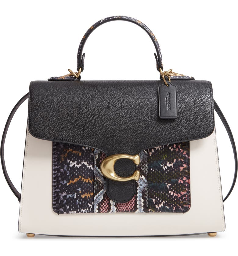 COACH Tabby Colorblock Leather & Genuine Snakeskin Top Handle Satchel, Main, color, B4/ BLACK MULTI