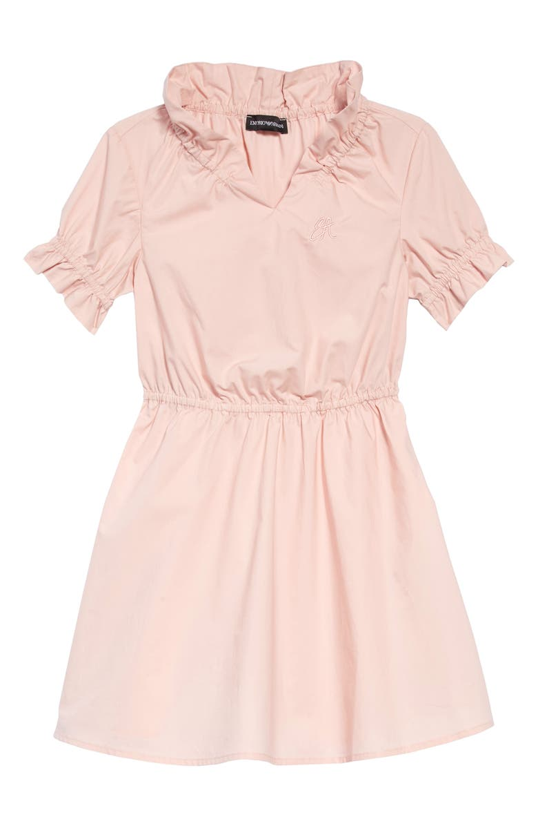 ARMANI JUNIOR Ruffle Cotton Dress, Main, color, 650