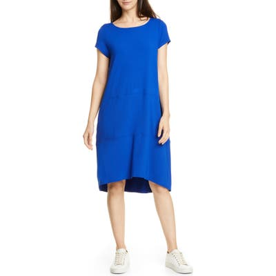 Eileen Fisher Bateau Neck Cap Sleeve Dress, Blue