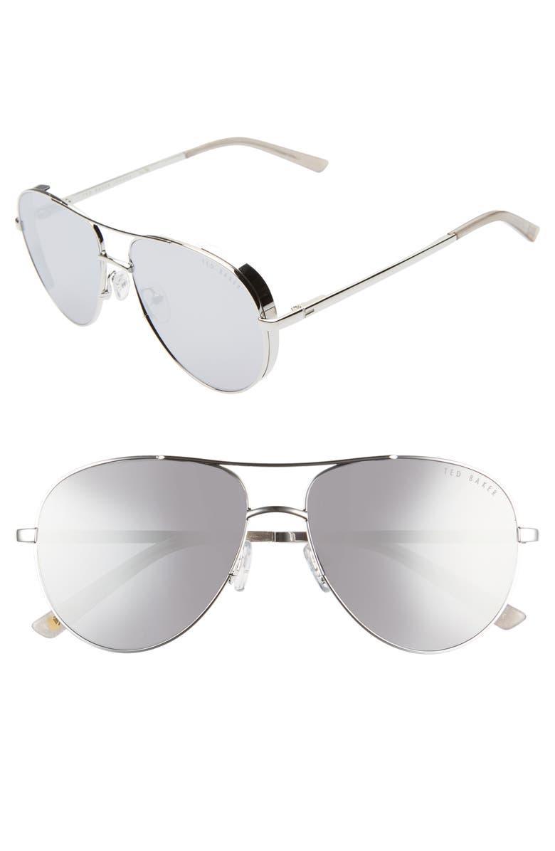 TED BAKER LONDON 57mm Aviator Sunglasses, Main, color, SILVER/ GREY