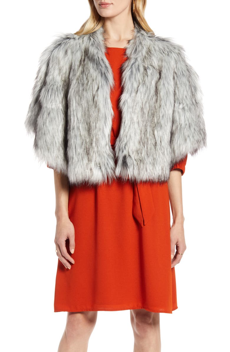 HALOGEN<SUP>®</SUP> Faux Fur Capelet, Main, color, SILVER FOX