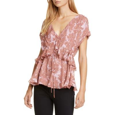 Dvf Millie Ruffle Silk Blend Top, Pink