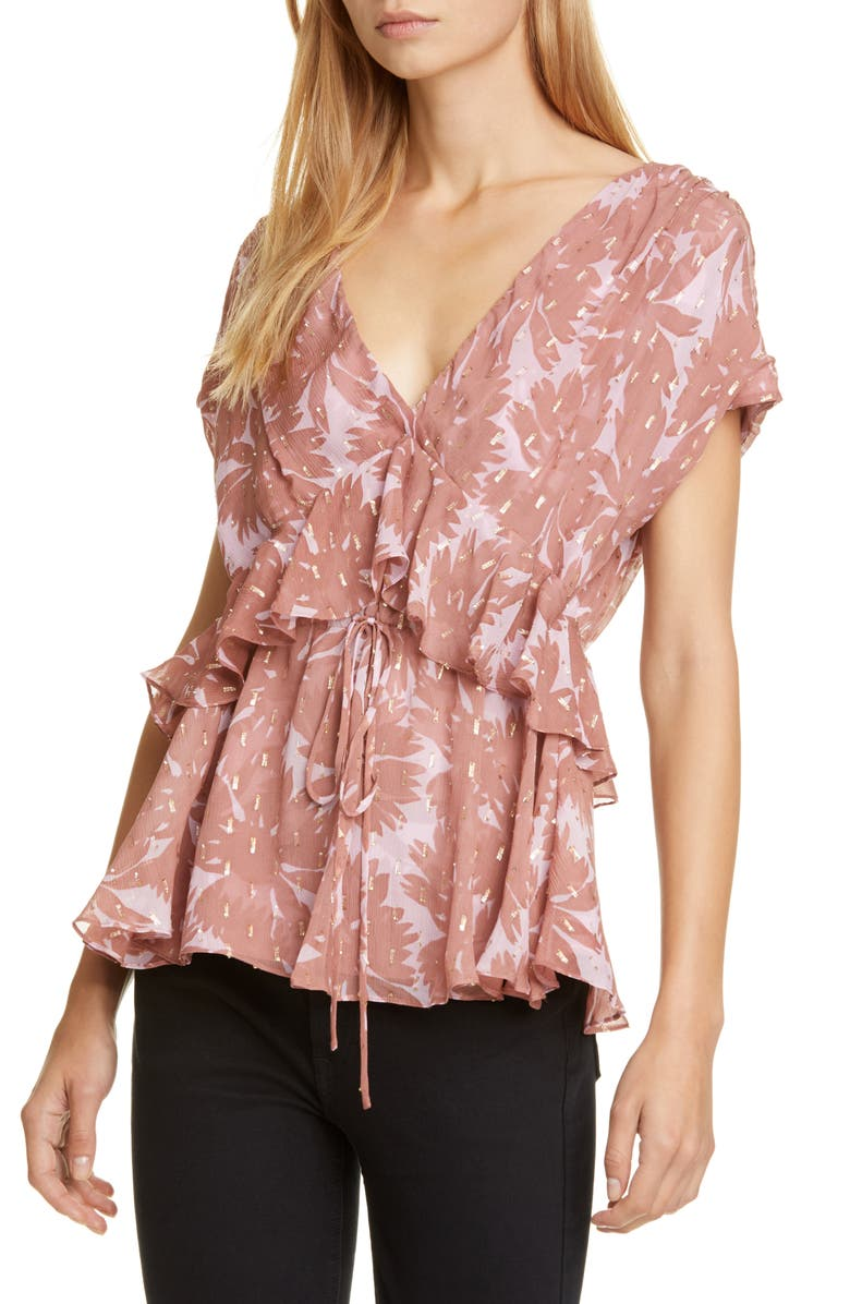 DVF Millie Ruffle Silk Blend Top, Main, color, DAISY SILHOUETTE PALE MAUVE