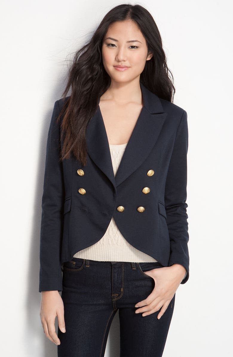 WILLOW & CLAY Double Breasted Fishtail Blazer, Main, color, 415