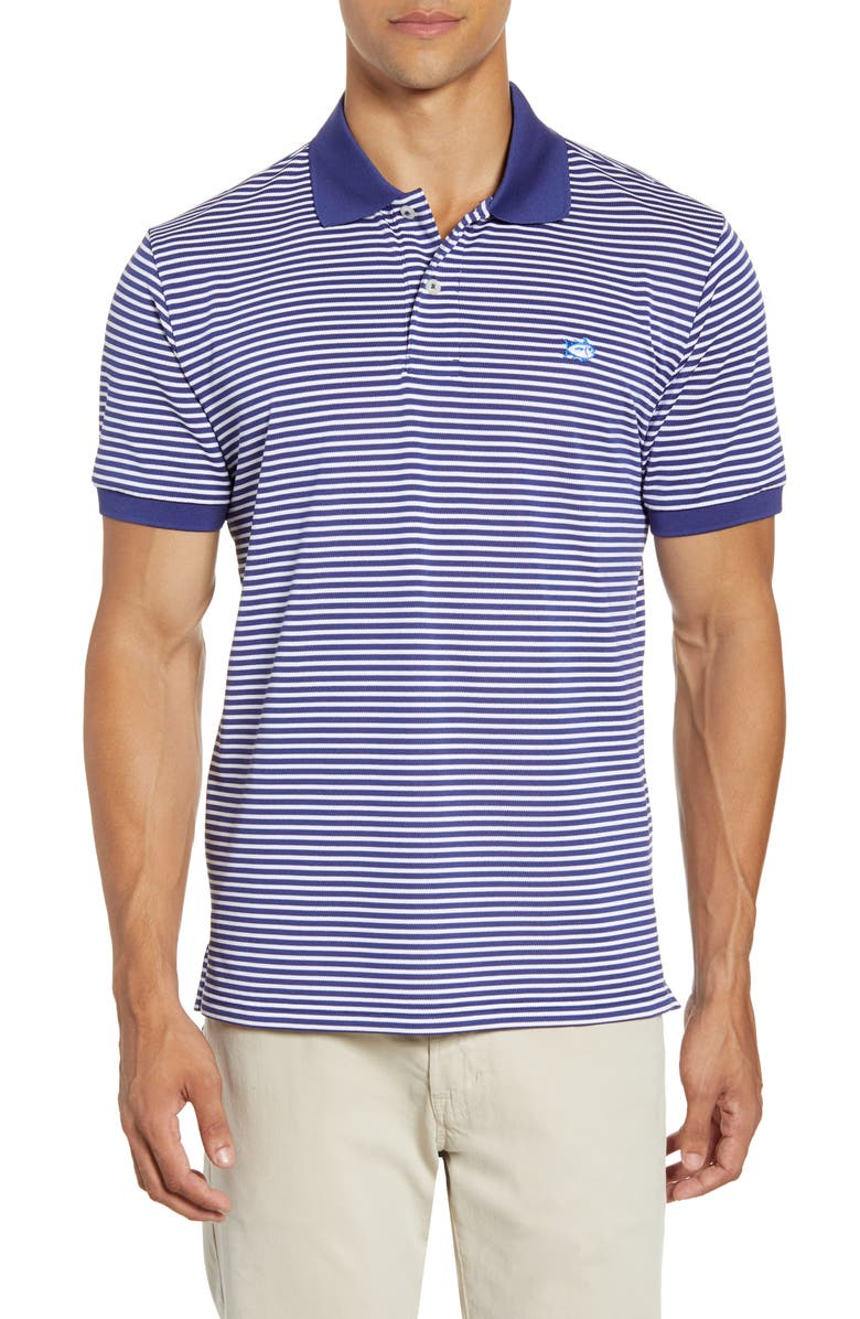 SOUTHERN TIDE Classic Fit Stripe Performance Polo, Main, color, BLUE NIGHT