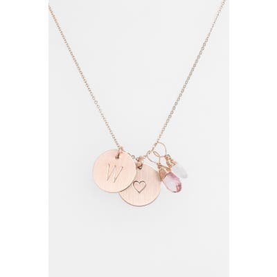 Nashelle 14K-Gold Fill Heart Disc, Moonstone & Pink Quartz Initial Necklace