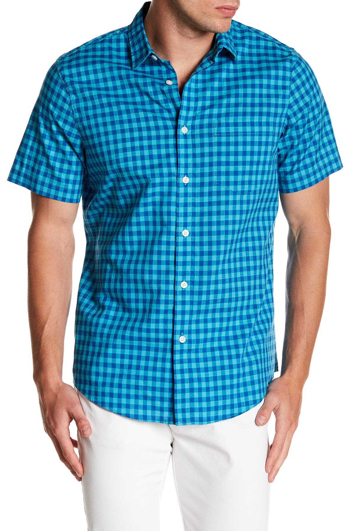 Image of 14th & Union Gingham Short Sleeve Trim Fit Shirt
