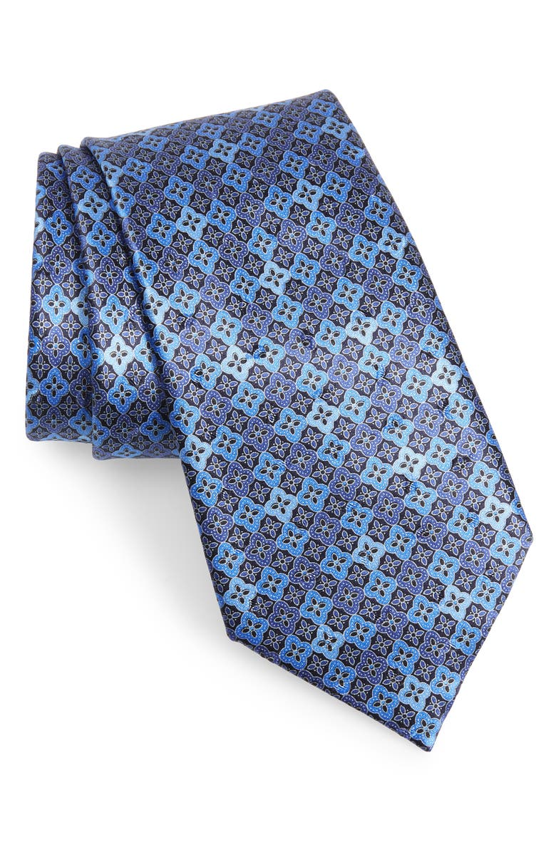 ERMENEGILDO ZEGNA Geometric Silk Tie, Main, color, 418