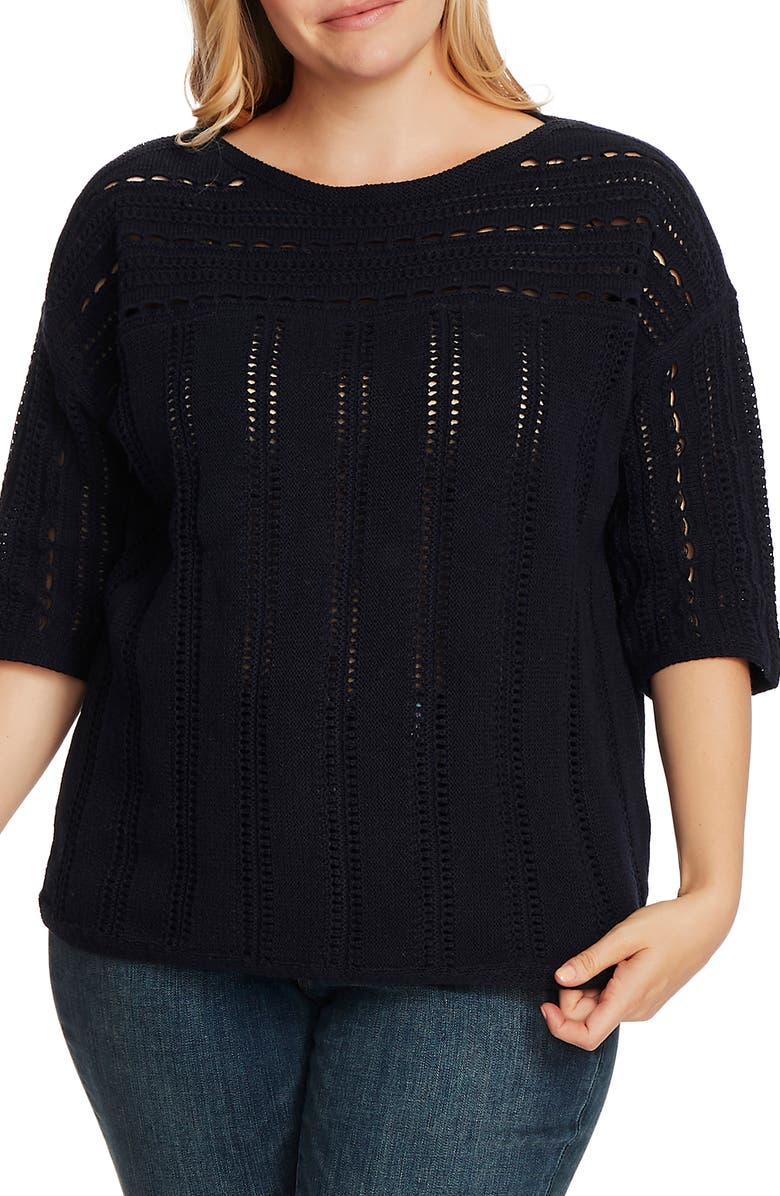 VINCE CAMUTO Boatneck Pointelle Sweater, Main, color, CAVIAR